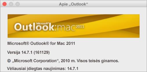 """Langelyje About """"Outlook"""" bus nurodyta """"Outlook for Mac 2011""""."""