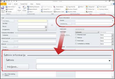 Ekrano kopija, kurioje įrašo sekcija šaltinio informacija