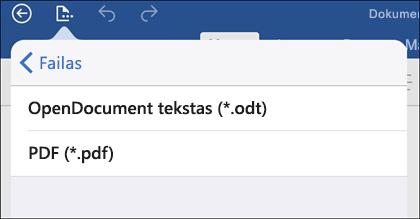 Bakstelėkite Failas > Eksportuoti, kad eksportuotumėte dokumentą į PDF