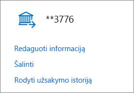 Mokėjimo parinkčių puslapis, kuriame rodomi banko sąskaitai skirti saitai Redaguoti informaciją, Pašalinti ir Peržiūrėti užsakymų retrospektyvą.