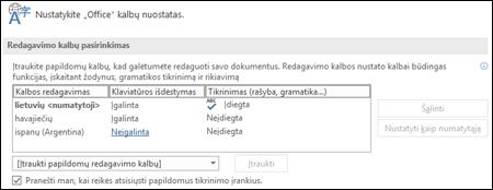"""Dialogo langas, kuriame galite įtraukti, pasirinkti arba pašalinti """"Office"""" redagavimo ir tikrinimo įrankių kalbą."""
