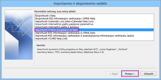 Pasirinkite Importuoti iš kitos programos ar failo.