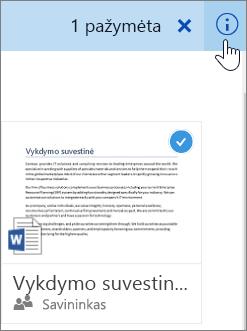 Elemento pasirinkimo ir informacijos piktogramos spustelėjimo ekrano nuotrauka