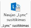 """Naujo """"Lync"""" susitikimo piktogramos, rodomos juostelėje, ekrano nuotrauka"""
