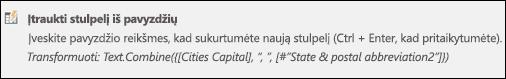 Power Query sujungti stulpelį iš pasirinktinio stulpelio formulės pavyzdys