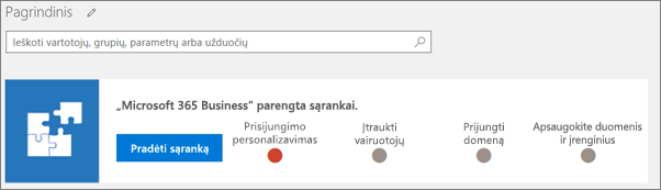 """""""Business Cloud Suite"""" nustatymo vedlio ekrano kopija."""