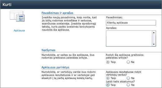 SharePoint 2010 apklausos puslapį