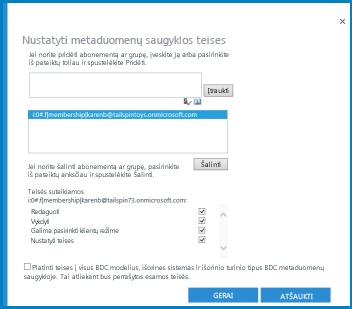 """SPO BCS dialogo lango """"Nustatyti metaduomenų saugyklos teises"""" grafinis elementas."""