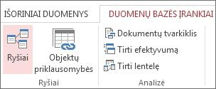 Komanda Ryšiai skirtuke Duomenų bazės įrankiai