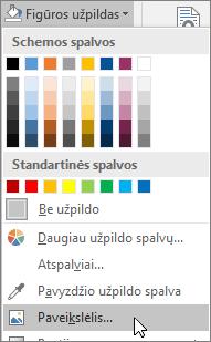"""Ekrano nuotrauka, rodanti parinktį Užpildas paveikslėliu, esančią programos """"Publisher"""" skirtuko Formatas parinktyje Figūros užpildas."""