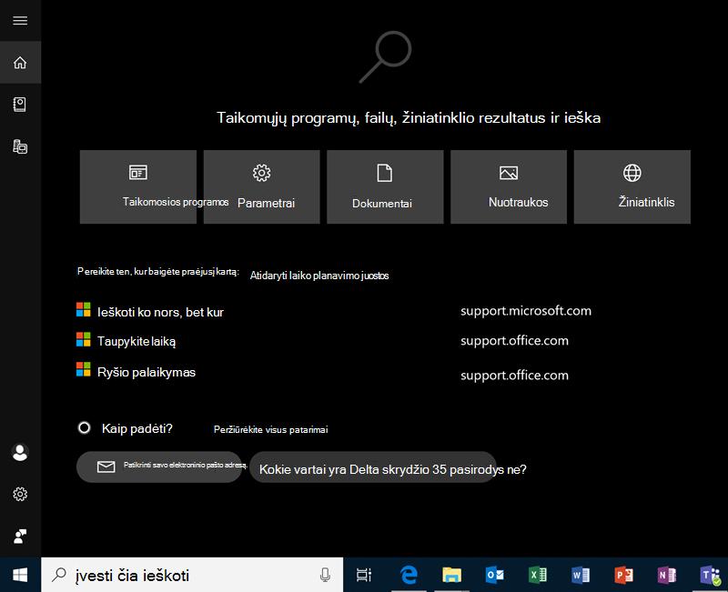 """Ieška naudojant """"Windows 10"""""""