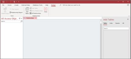 """Programos """"Access"""" ekranas su atidaryta lentelių įtraukimo sritimi"""