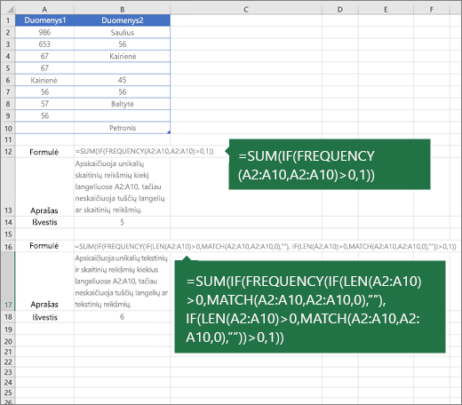 Įdėtųjų funkcijų pavyzdžiai unikalių reikšmių skaičiui tarp dublikatų skaičiuoti