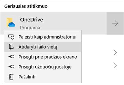Ekrano kopija, kurioje matomas dešiniuoju pelės mygtuku spustelėjamas pradžios meniu, kai pasirinkta Atidaryti failo vietą.