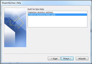 Eksportavimas į duomenų failą