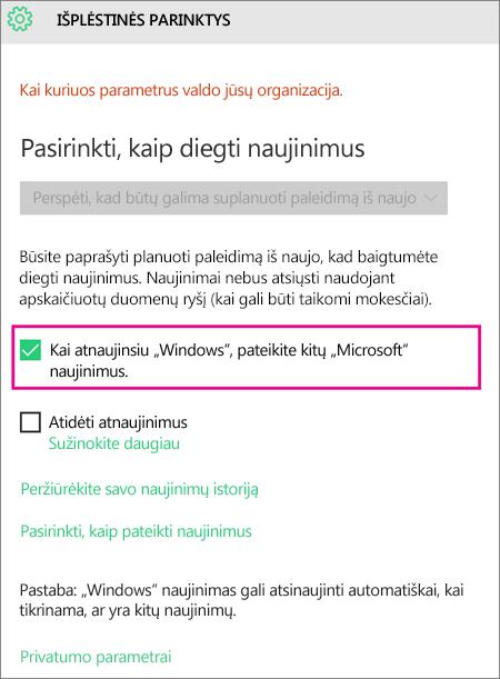 """""""Windows Update"""" išplėstinės parinktys"""