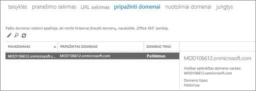 """Ekrano kopijoje pavaizduotas """"Exchange"""" administravimo centro Pripažintų domenų puslapis. Rodoma vardo, pripažinto domeno ir jo tipo informacija."""