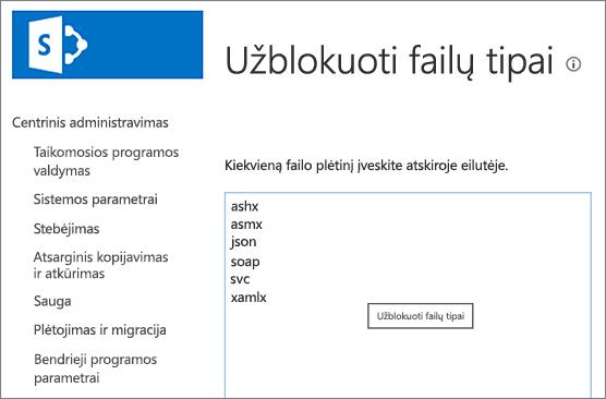 Blokuojamų failų sąrašas