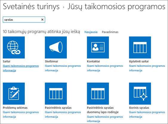 Sąrašo taikomųjų programų puslapyje svetainės turinys