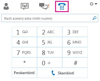 Numerio rinkiklio, kai skambinama kontaktui, ekrano kopija