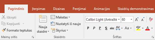 """Programoje """"PowerPoint"""" juostelėje rodomas teksto žymeklis."""