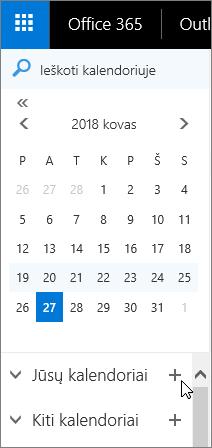 Ekrano kopija, kurioje matyti naršymo srities Kalendorius sritys Jūsų kalendoriai ir Kiti kalendoriai.
