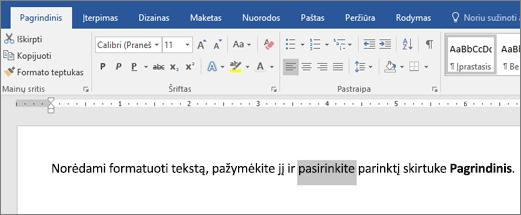 """""""Word"""" juostos formato teksto parinktys"""