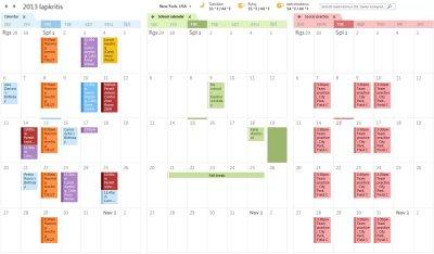 Trijų gretutinių kalendorių pavyzdys