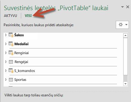 """Lange """"PivotTable"""" laukai spustelėkite Visi, kad būtų rodomos visos turimos lentelės"""