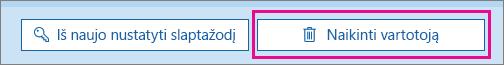 """Panaikinkite vartotoją """"Office 365""""."""