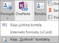 """Programoje """"Outlook"""" skirtuko Kontaktas grupėje Veiksmai pasirinkite Foward ir pasirinkite parinktį."""