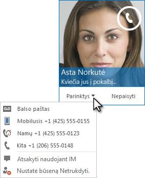 Garsinių duomenų skambučio įspėjimo ekrano kopija su kontakto nuotrauka viršutiniame kampe