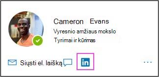 """Piktogramos """"LinkedIn"""" rodymas profilio kortelėje"""