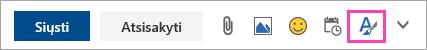 Ekrano nuotrauka formatavimo parinkčių mygtukas