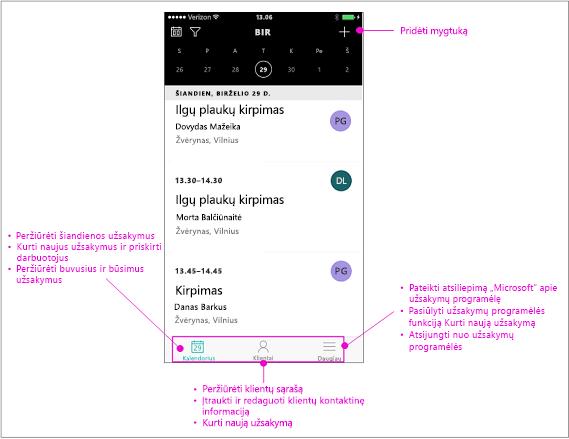 Naršymo juostos užsakymų mobiliųjų įrenginių programėlės turi tris galimybes: kalendorių, Klientai ir dar daugiau