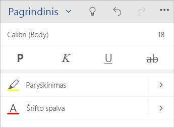 """""""Word Mobile"""" teksto formatavimo meniu ekrano nuotrauka."""
