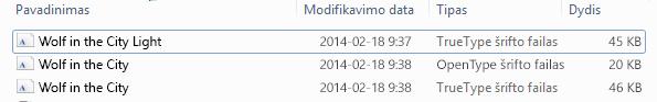 Šriftų sąrašas išskleistame faile.