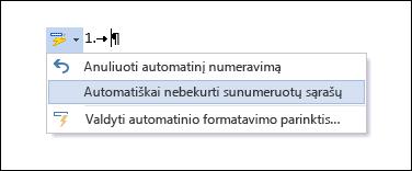 Numeravimo parinktys rodomos dalyje Automatinė taisa.