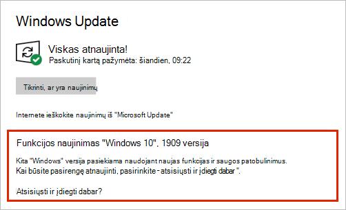 Windows Naujinimas, rodantis funkcijų naujinimo vietą