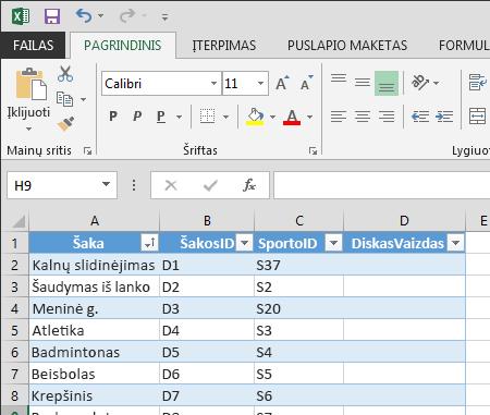 """lentelės išplėtimas programoje """"Excel"""""""