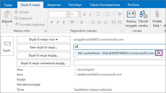 Ekrano kopijoje pavaizduota el. pašto pranešimo parinktis Siųsti dar kartą. Automatinio užbaigimo funkcija pateikia gavėjo el. pašto adresą lauke Siųsti iš naujo pagal įvestas pirmas kelias gavėjo vardo raides.