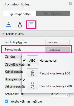 Teksto kryptis pažymėta srityje figūros formatavimas.