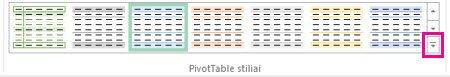 """Galerijos """"PivotTable"""" stiliai"""" mygtukas Daugiau"""
