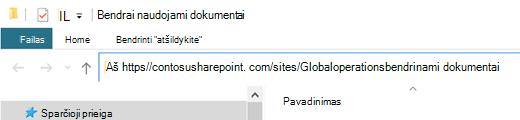 """Failų naršyklėje pažymėkite čia rodomą adresą """"http://""""."""