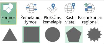 Trimačių žemėlapių figūrų parinktis