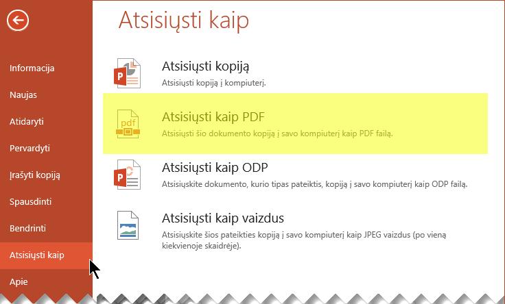 Pasirinkti failą > Atsisiųsti kaip > Atsisiųsti kaip PDF