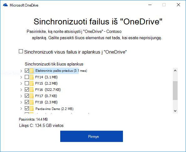 """Pasirinktinai sinchronizuoti """"OneDrive"""" verslui aplankų"""