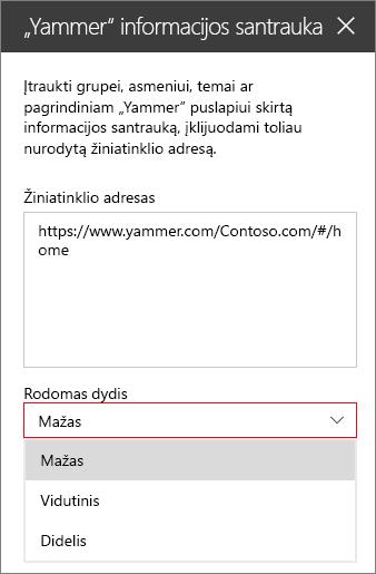 """""""Yammer"""" informacijos santraukos žiniatinklio adreso lauku"""