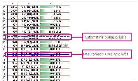 Automatiniai ir neautomatiniai puslapio lūžiai