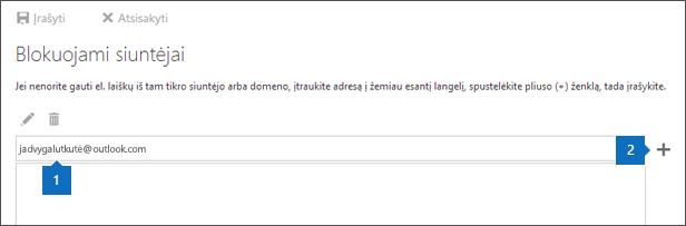 Blokuojami siuntėjai puslapio ekrano.